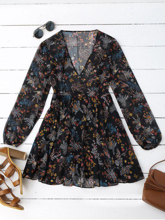ladies Semi Sheer Floral Print Chiffon Dress - FLORAL L