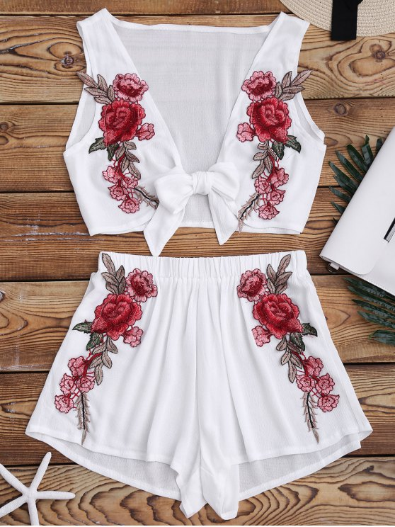 women's Bowknot Floral Applique Top and Shorts - WHITE M