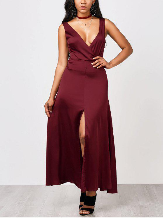 ladies Front Split Maxi Satin Evening Dress - BURGUNDY S