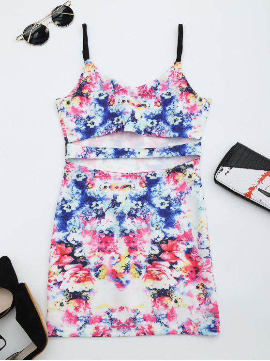 lady Printed Cut Out Cami Dress - MULTI M
