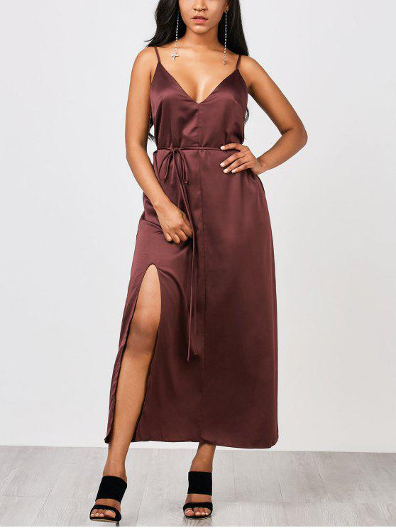 3279a8da2f 33% OFF  2019 Side Slit Maxi Slip Dress With Belt In MERLOT