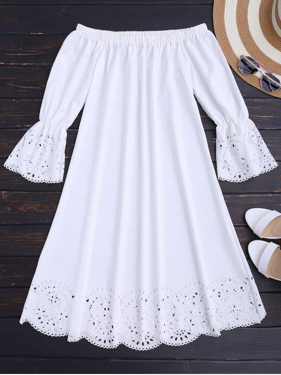 Vestido Midi Fuera del Hombro con Detalle Ahuecado - Blanco S