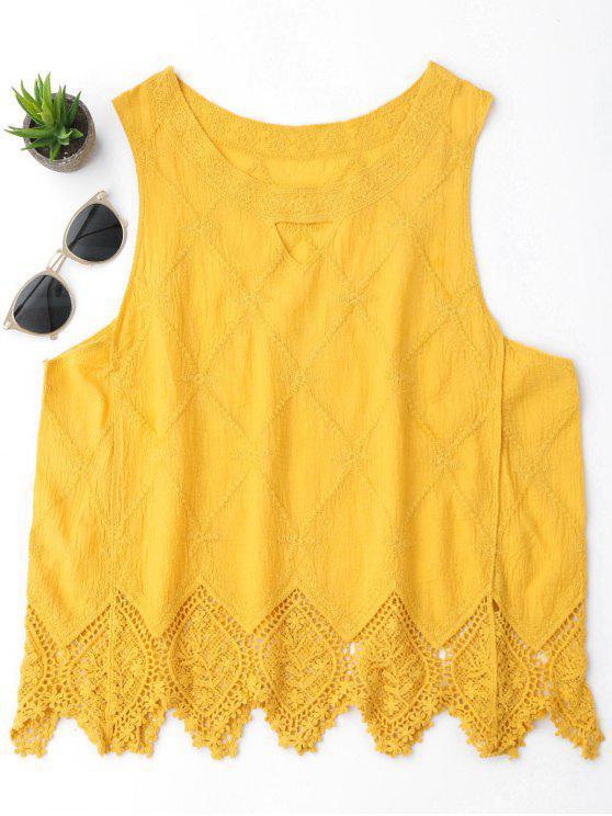 women Cotton Blend Lace Geometric Scalloped Tank Top - YELLOW ONE SIZE
