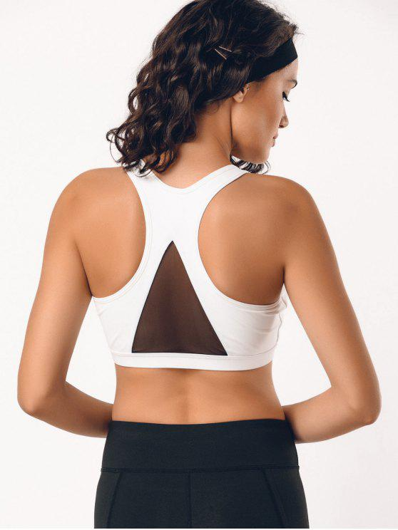 hot Padded Mesh Panel Racerback Sporty Bra - WHITE L