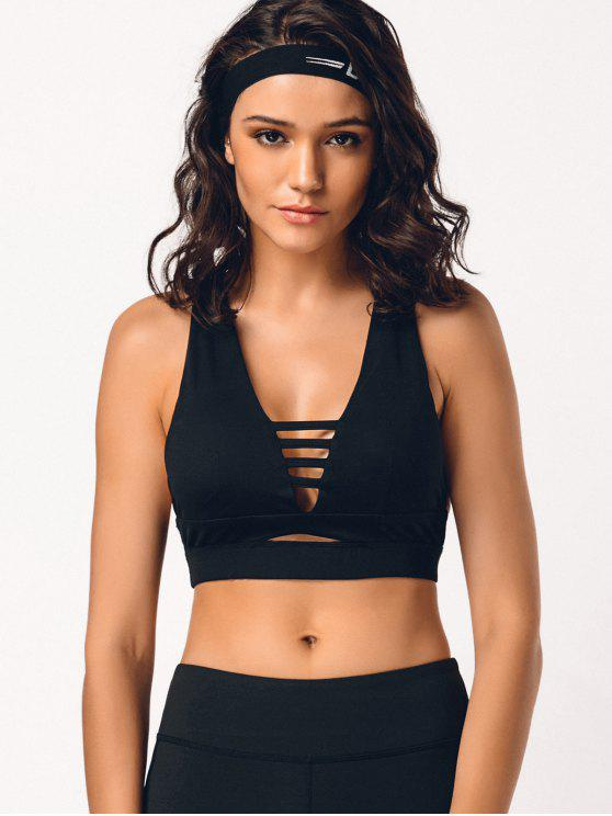 shop Cross Back Ladder Cut Padded Sporty Bra - BLACK S