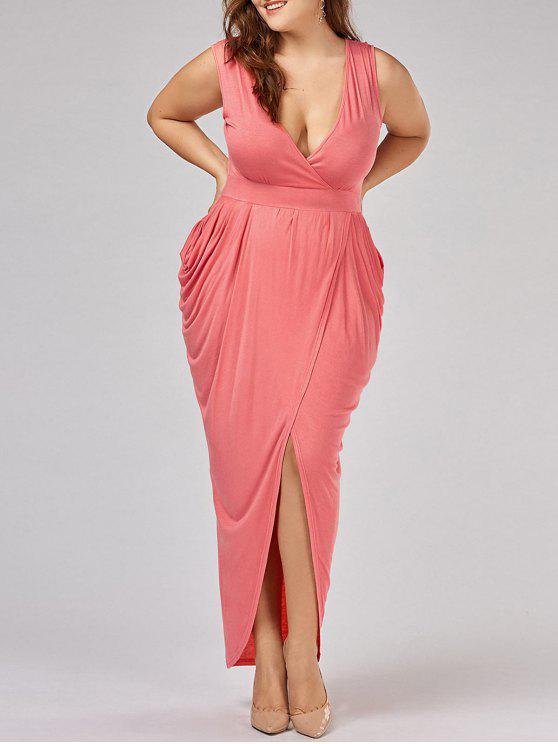 fancy Plus Size Ruched Maxi Surplice Drape Dress - ORANGEPINK 5XL