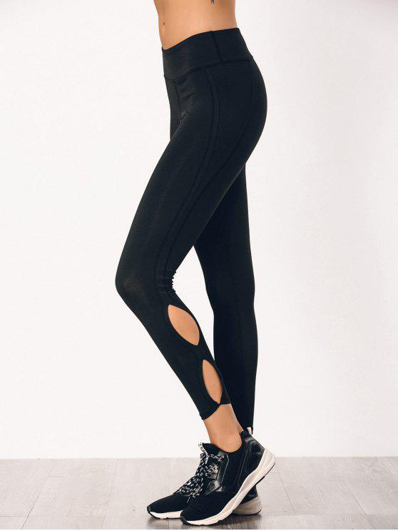 unique Stretchy Cut Out Sporty Bottoms - BLACK M