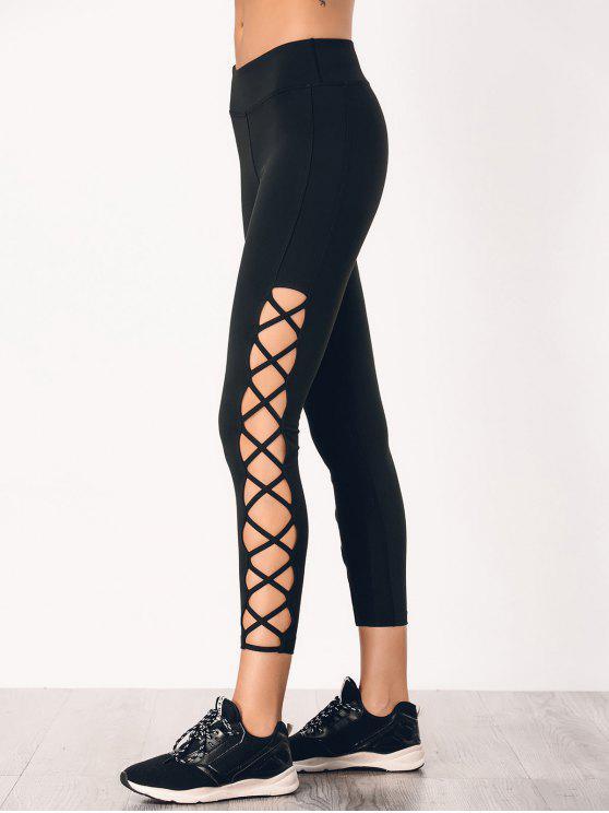 fashion Stretchy Strappy Side Sporty Leggings - BLACK M