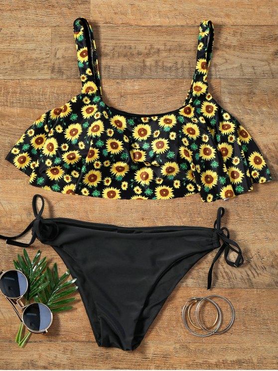 latest Flounce Cropped Top Sunflower Bikini Set - COLORMIX M