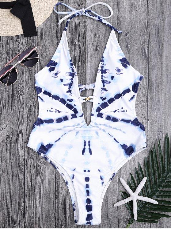 Cuello de cuello alto Monokini - Azul y Blanco S