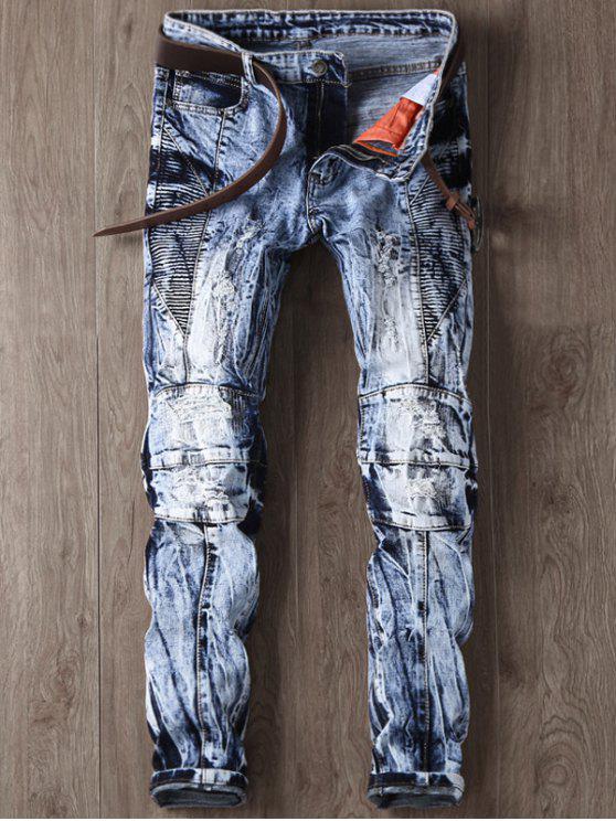 جينز مصبوغ التعادل ممزق ضيق الساق - أزرق 34