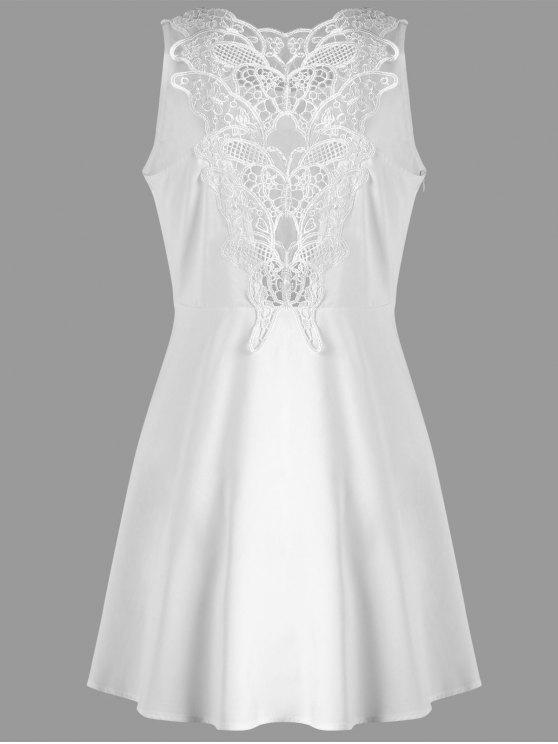 فستان بلا اكمام طباعة - أبيض XL