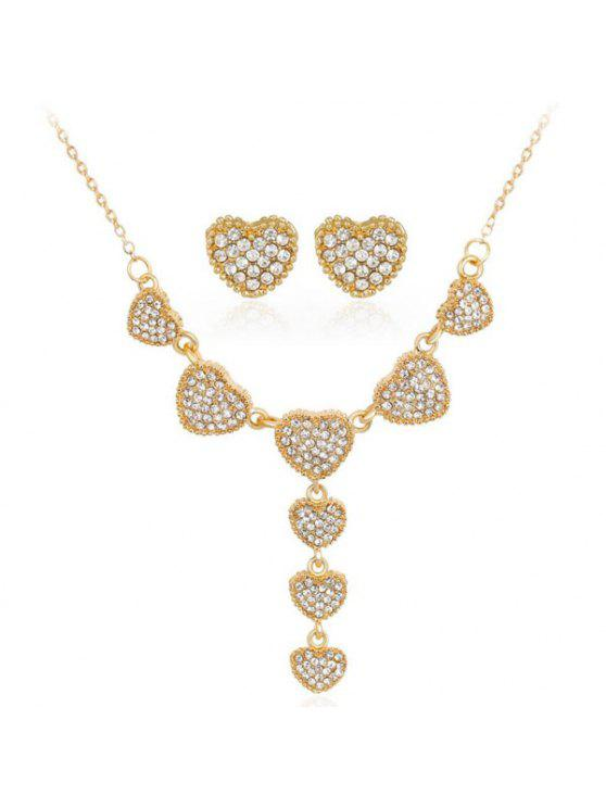 حجر الراين القلب قلادة مع أقراط مجموعة - ذهبي