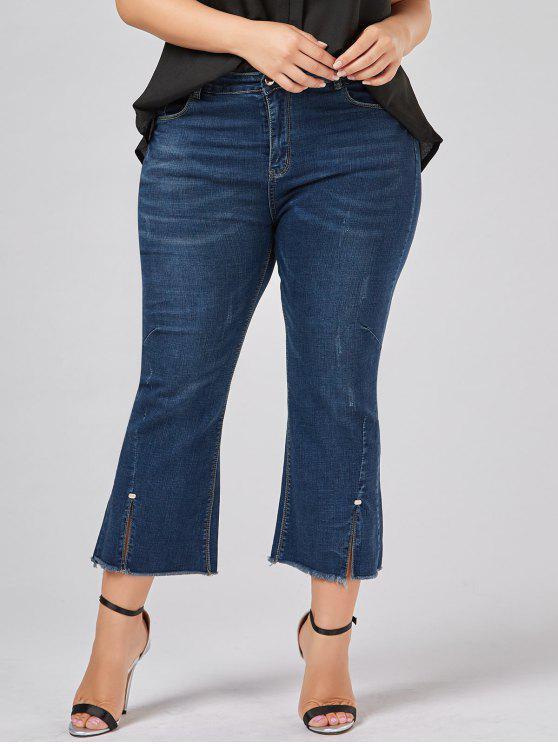 Übergröße trompete Jeans mit ausgefranstem Saum - Denim Blau 5XL
