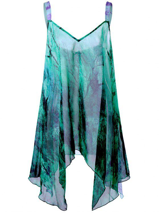03ec2390a9b 2019 Plus Size Graphic Handkerchief Flowy Tank Top In GREEN 5XL