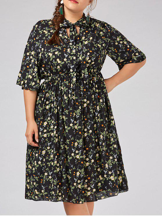 Plus Size Flare Sleeve Tiny Floral Country Dress