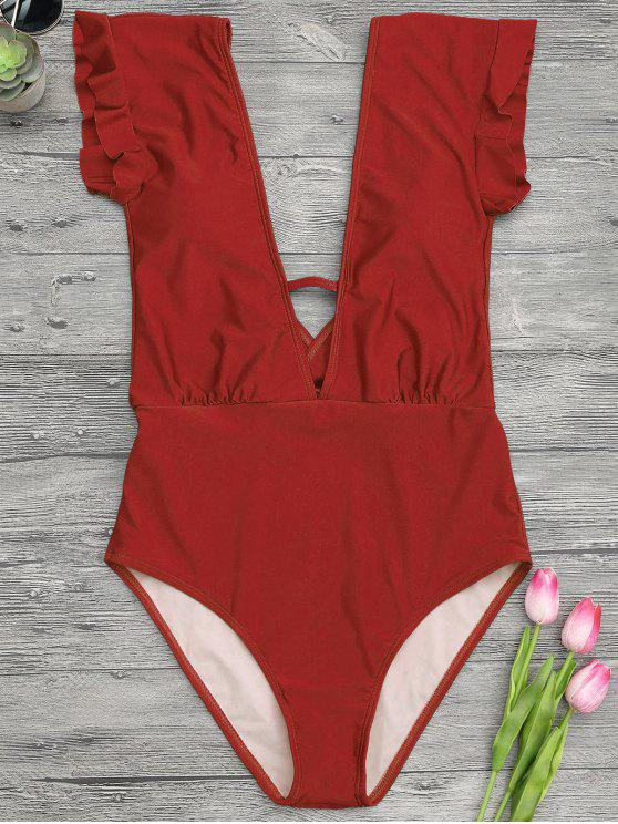 women Frilled Plunge One Piece Swimsuit - RED L