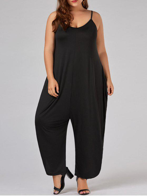 dbcf108ad1ab 30% OFF  2019 Plus Size Low Cut Spaghetti Strap Baggy Jumpsuit In ...