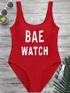 Shaping Low Back One Piece Graphic Swimsuit - Red S