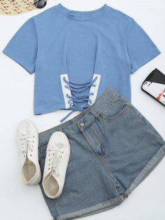 T-shirt à Lacets Col Rond - Bleu Clair Xl