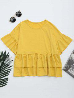 Round Collar Tiered Ruffle Hem Tee - Yellow M
