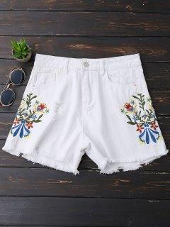 Embroidered Frayed Hem Ripped Denim Shorts - White Xl