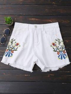 Embroidered Frayed Hem Ripped Denim Shorts - White L