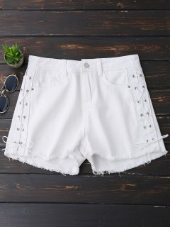 Frayed Hem Side Lace Up Denim Shorts - White S