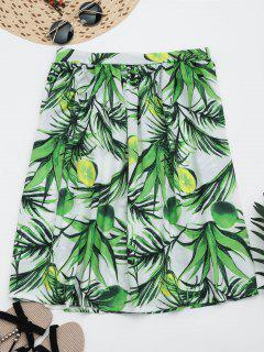 Leaves Print Knee Length Flare Skirt - Green L