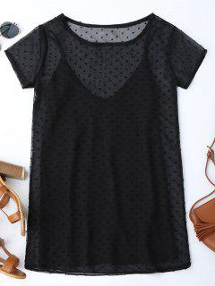 Sheer Mesh Dress And Slip Dress Set - Black Xl