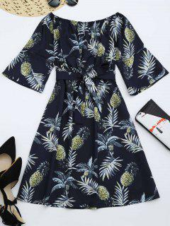 Pineapple Print Belted Dress - Purplish Blue M