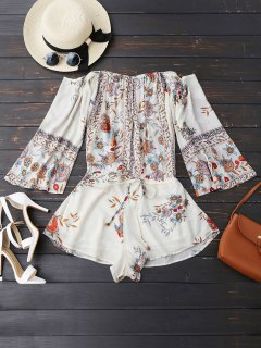 Off Shoulder Floral Drawstring Playsuit - White L