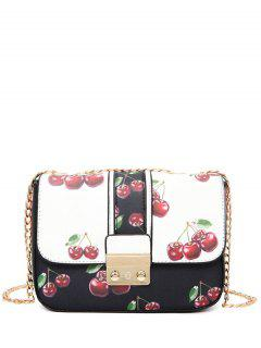 Cherry Chain Strap Mini Crossbody Bag - Black