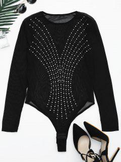 Sheer Rhineston Embellished Bodysuit - Black Xl