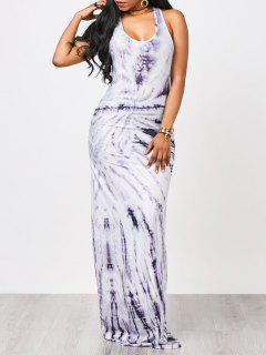 Tie Dyed Maxi Tank Prom Dress - White And Purple Xl