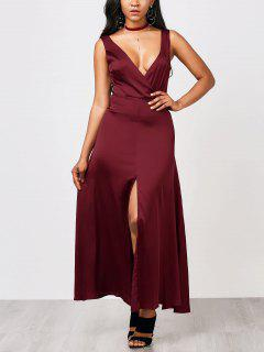 Front Split Maxi Satin Evening Prom Dress - Burgundy S
