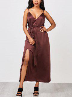 Side Slit Maxi Slip Dress With Belt - Merlot 2xl