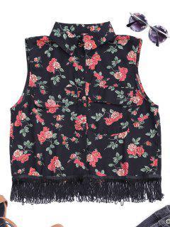 Chemise Florale Sans Manches à Franges - Noir S