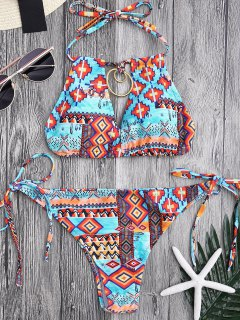 Metal Tribe Pattern String Bikini Set - S