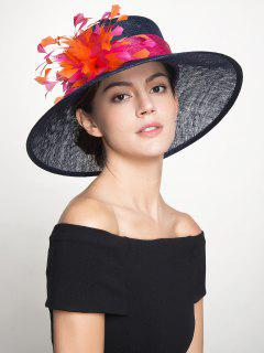 Retro Cambric Muliticolor Feather Florwer Ribbon Hat - Royal