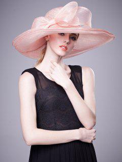 Wide Layered Brim Cambric Bowknot Banquet Hat - Papaya