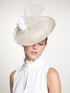 Mesh Feather Floral Cambric Piece Cocktail Hat - Ivory White
