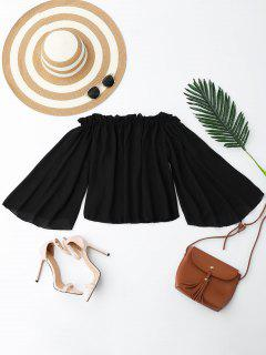 Chiffon Off The Shoulder Ruffles Blouse - Black M