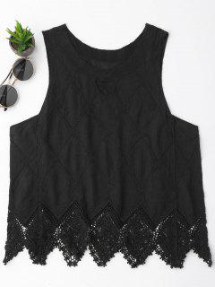 Cotton Blend Lace Geometric Scalloped Tank Top - Black