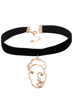 Metallic Hollow Out Face Funny Choker - Black