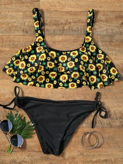 Flounce Cropped Top Sunflower Bikini Set - S