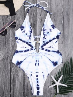 Plunging Neck High Cut Tie-Dyed Monokini - Blue And White M