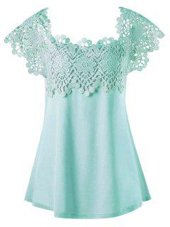 T-shirt  Effet En Crochet Floral Grande Taille - Menthe 5xl