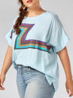 Plus Size Zigzag Graphic Plain T-shirt - Sky Blue 3xl