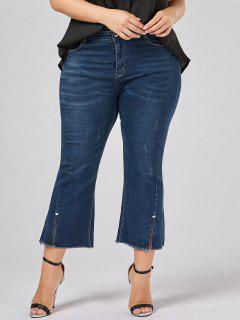 Frayed Hem Plus Size Boot Cut Jeans - Denim Blue 5xl